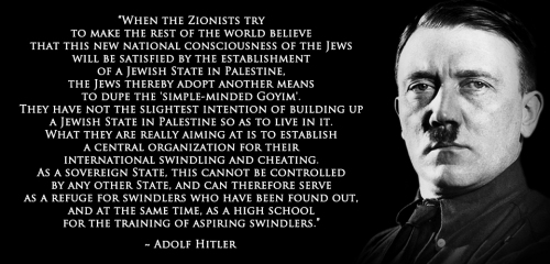 Adolf Hitler about a Jewish State in Palestine
